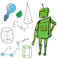 drawn picture with physics stuff and robot vector image vector image