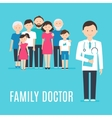 Extended Family and Medical Doctor or Physician vector image vector image
