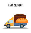 fast delivery poster with black and white bread in vector image vector image