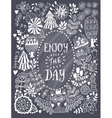 Floral card design in chalk style flowers and vector image vector image