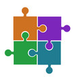 four puzzle pieces orange violet green and blue vector image vector image