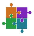 four puzzle pieces orange violet green and blue vector image