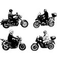 four sketch motorcyclists vector image vector image