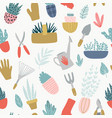 gardening tools set spring time happy gardening vector image