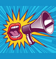 girl mouth with megaphone in vector image