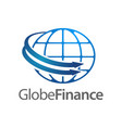 global finance in globe rotate arrow logo concept vector image
