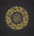 gold christmas circular decoration with motifs vector image vector image