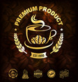 golden coffee labels and coffee beans background vector image vector image