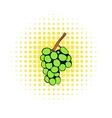 Green grape branch icon comics style vector image vector image