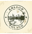 Grunge rubber stamp with Krakow Poland vector image