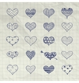 Hand Drawn Heart Shapes with Doodle vector image vector image