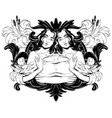 hand drawn twins with baroque vector image vector image