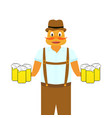 hilarious man with mugs of beer at hands vector image vector image