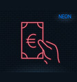 hold cash money line icon euro currency vector image vector image