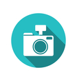 Icon photo camera white cuted on blue round vector image