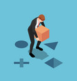 isometric businessman putting square box vector image vector image