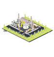 isometric refinery plant with tubes oil petroleum vector image vector image