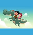 kids riding on a cute dragon vector image