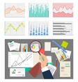 mans hand and glass charts set vector image