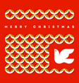 merry christmas greeting card with flying dove vector image vector image