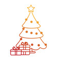 merry christmas pine tree with gifts vector image vector image