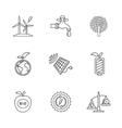 nine flat eco icons vector image vector image