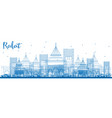 outline rabat skyline with blue buildings vector image vector image
