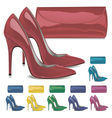 Pairs of female high-heeled shoes and mini bags vector image vector image