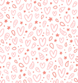 Pink doodle hearts seamless pattern vector image vector image