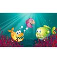 Piranhas under the sea with corals vector image vector image