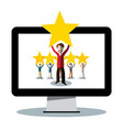 rating symbol - people holding stars on pc vector image vector image