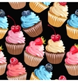 Seamless cupcakes and polka dot vector image vector image