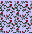 seamless pattern with red roses on a blue vector image