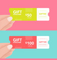 set hand holding coupon holiday and event gift vector image vector image