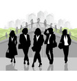 silhouettes of elegant businesswomen vector image