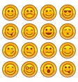 Smiley coins gold icons signs symbol set vector image
