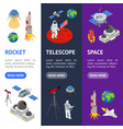 space banner vecrtical set isometric view vector image vector image