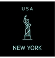 statue liberty outline logo into flat vector image vector image