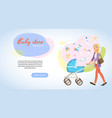 store with baby products cartoon web banner vector image
