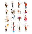 street artists isometric people vector image vector image