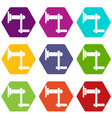 twist tool icon set color hexahedron vector image vector image