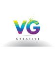 vg v g colorful letter origami triangles design vector image vector image