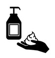 wash hands with liquid soap icon filled vector image vector image