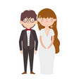 wedding couple bride and groom in elegant suits vector image vector image