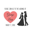 wedding invitation with silhouettes of couple vector image