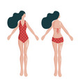 woman in summer swimsuit front and back flat style vector image