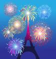 Fireworks on the Eiffel tower in Paris beautiful vector image