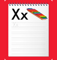 alphabet tracing worksheet with letter x and x vector image vector image