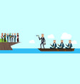 arab busineesgroup on boat with team leader vector image vector image