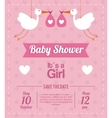 Baby Shower design stork icon pink vector image